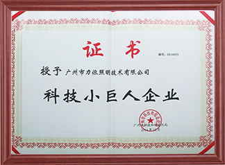 Guangzhou Science and Technology Little Giant Enterprise Certificate